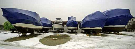 Boats being stored for the winter
