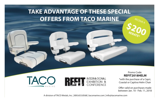 Receive a $200 Rebate with TACO Marine® Helm Chair Purchase